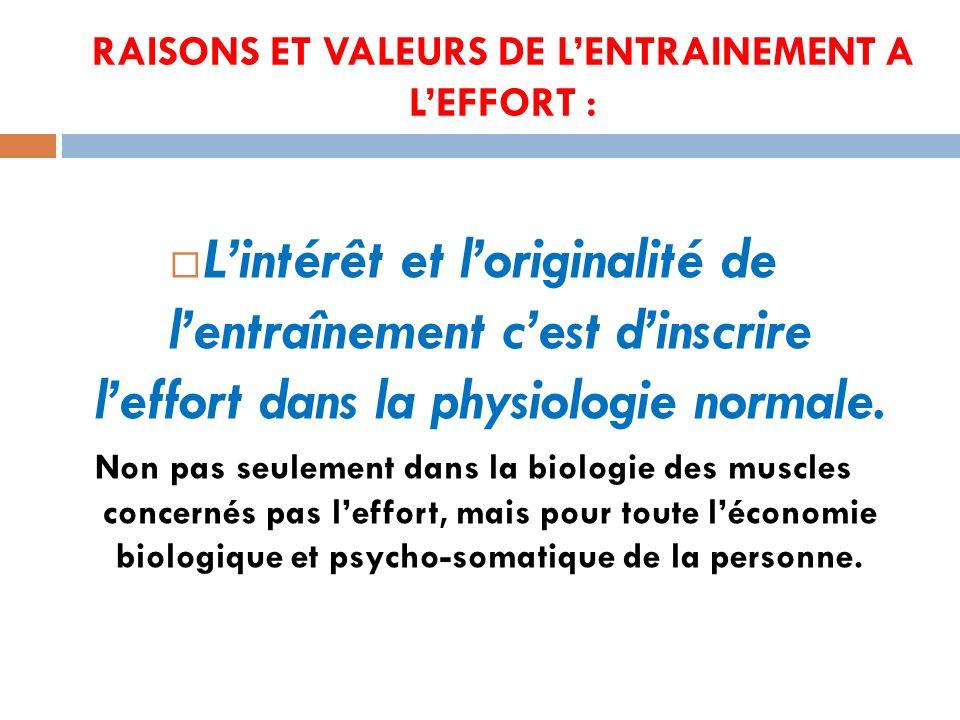 RAISONS ET VALEURS DE L'ENTRAINEMENT A L'EFFORT :