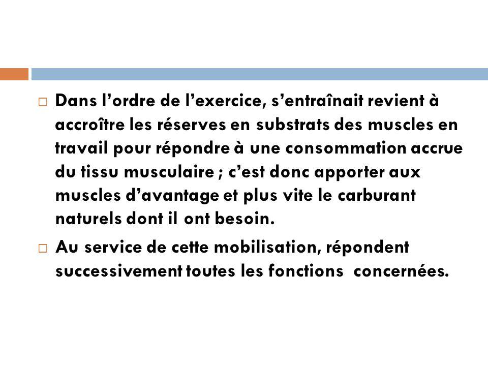 Dans l'ordre de l'exercice, s'entraînait revient à accroître les réserves en substrats des muscles en travail pour répondre à une consommation accrue du tissu musculaire ; c'est donc apporter aux muscles d'avantage et plus vite le carburant naturels dont il ont besoin.