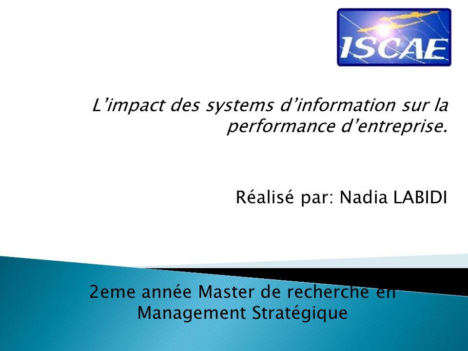 2eme année Master de recherche en Management Stratégique
