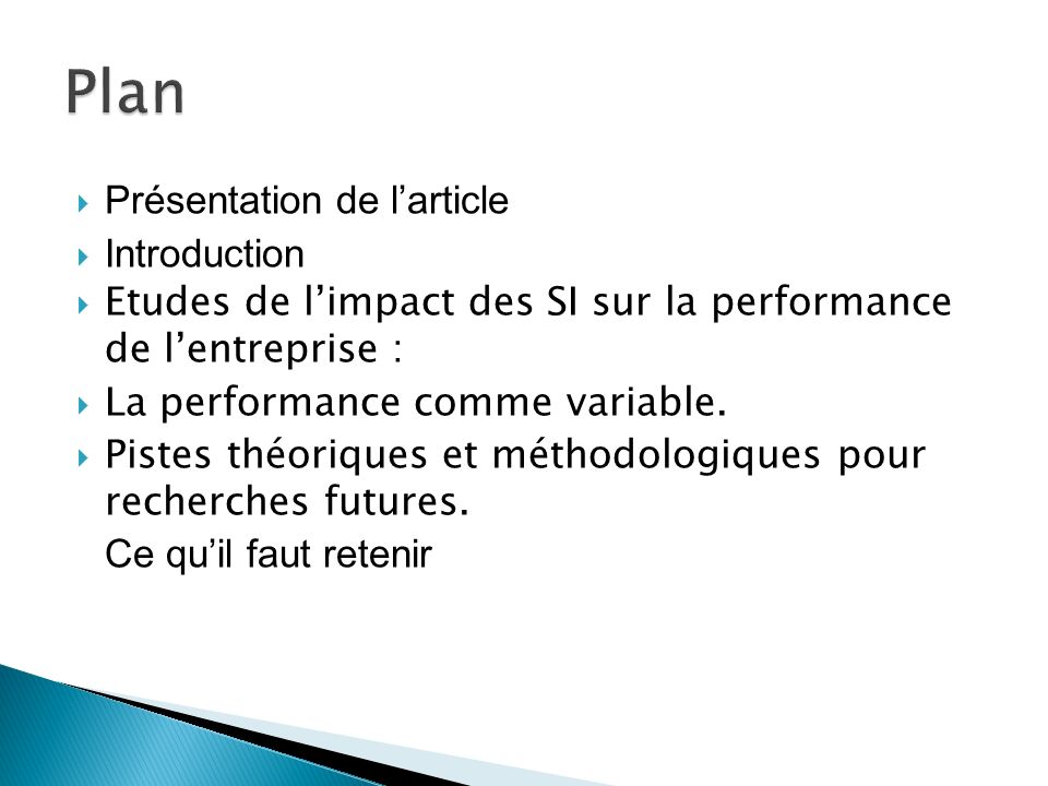 Plan Présentation de l'article Introduction