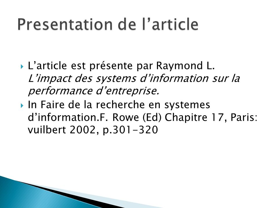 Presentation de l'article