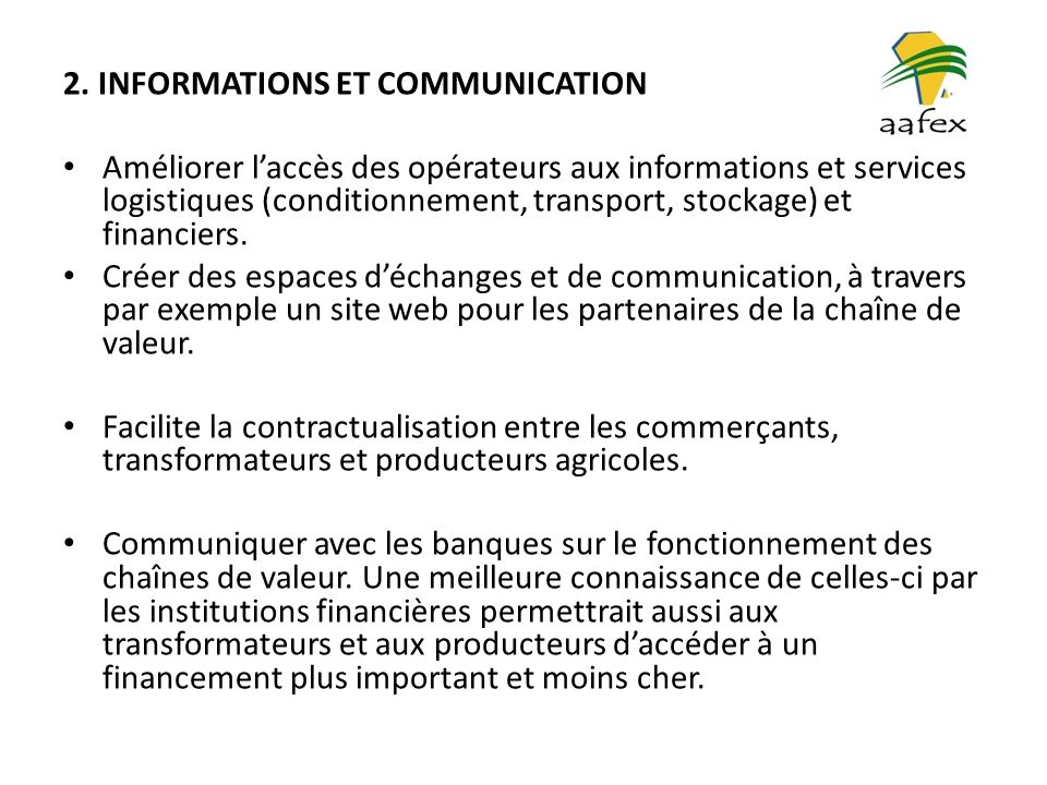 2. INFORMATIONS ET COMMUNICATION