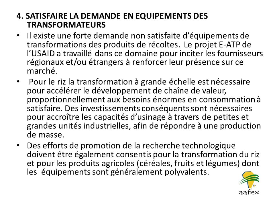 4. SATISFAIRE LA DEMANDE EN EQUIPEMENTS DES TRANSFORMATEURS