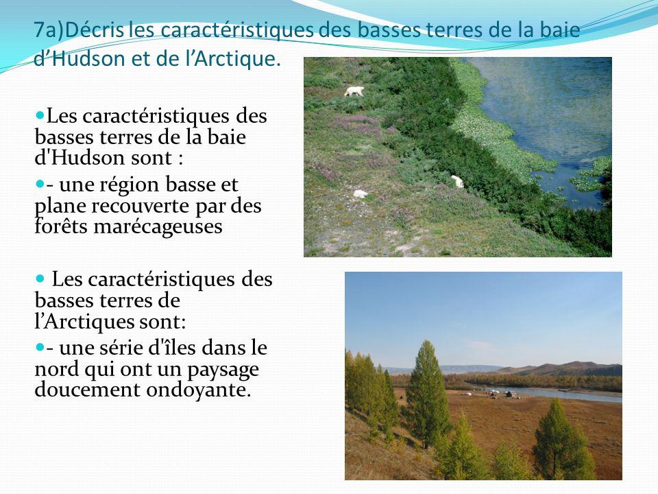 7a)Décris les caractéristiques des basses terres de la baie d'Hudson et de l'Arctique.