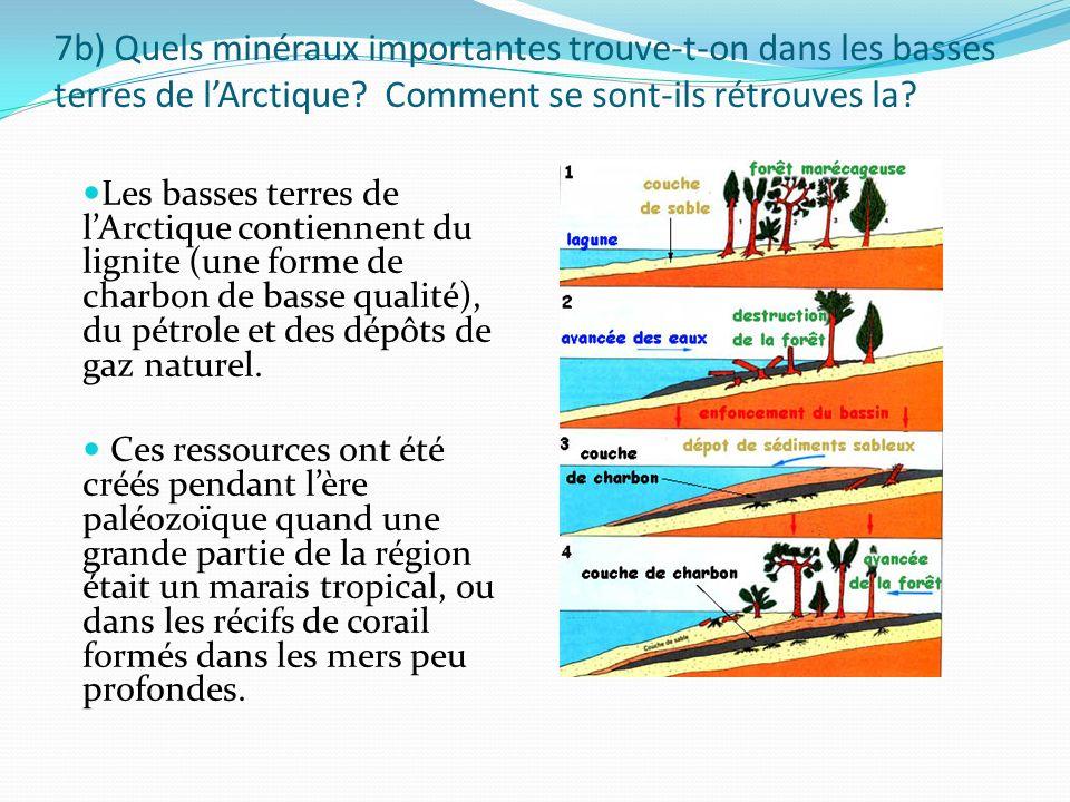 7b) Quels minéraux importantes trouve-t-on dans les basses terres de l'Arctique Comment se sont-ils rétrouves la