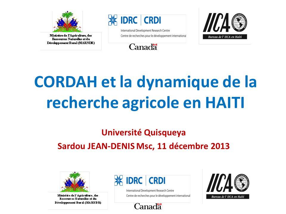 CORDAH et la dynamique de la recherche agricole en HAITI