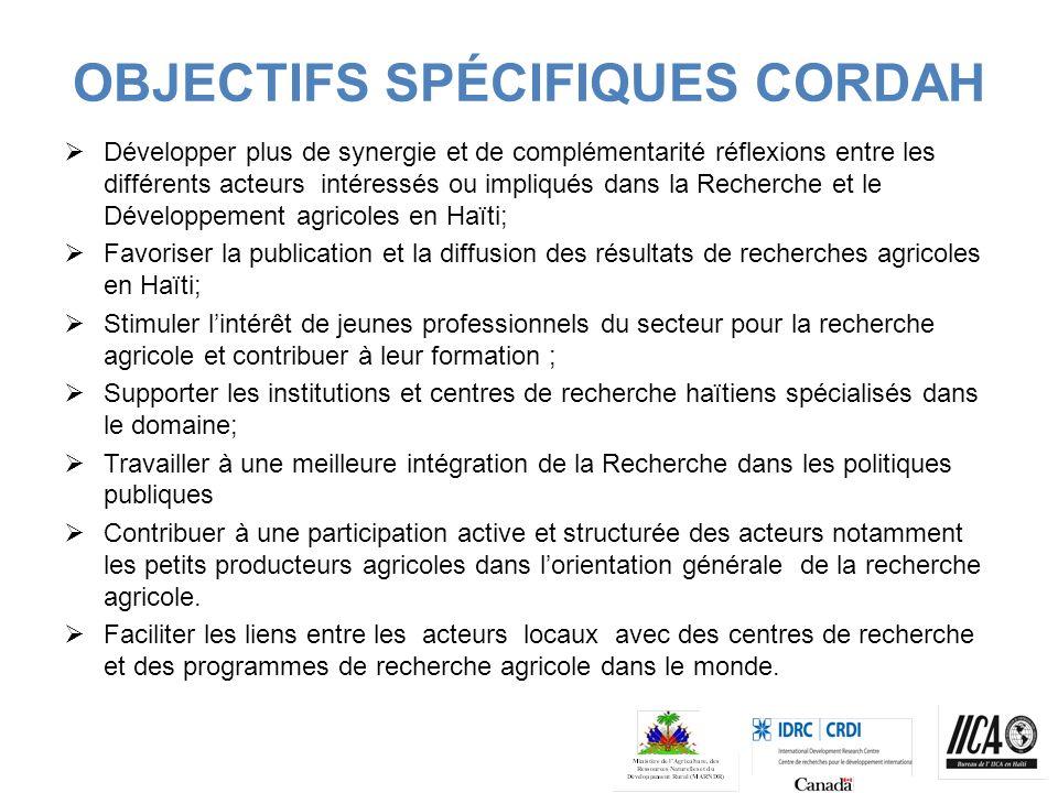 OBJECTIFS SPÉCIFIQUES CORDAH