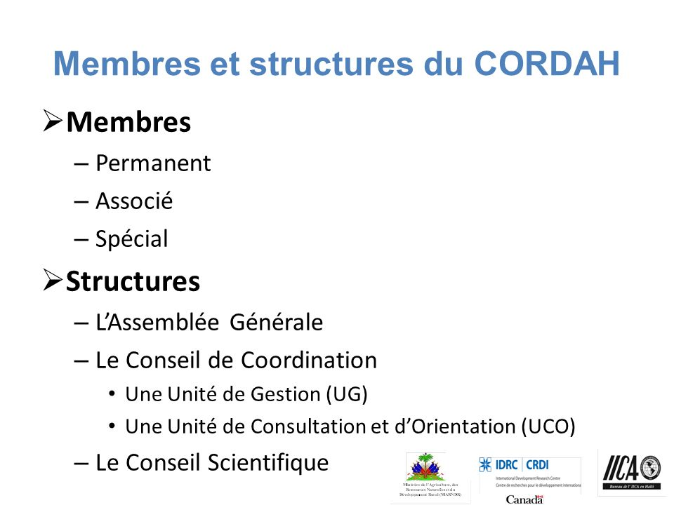 Membres et structures du CORDAH