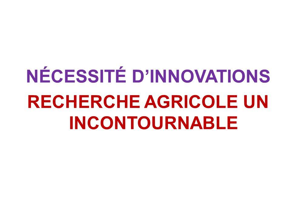 NÉCESSITÉ D'INNOVATIONS RECHERCHE AGRICOLE UN INCONTOURNABLE