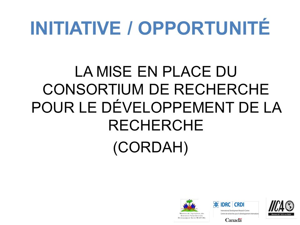 INITIATIVE / OPPORTUNITÉ