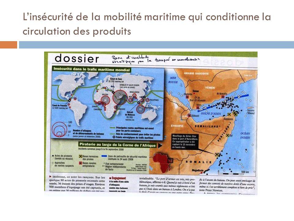 L'insécurité de la mobilité maritime qui conditionne la circulation des produits
