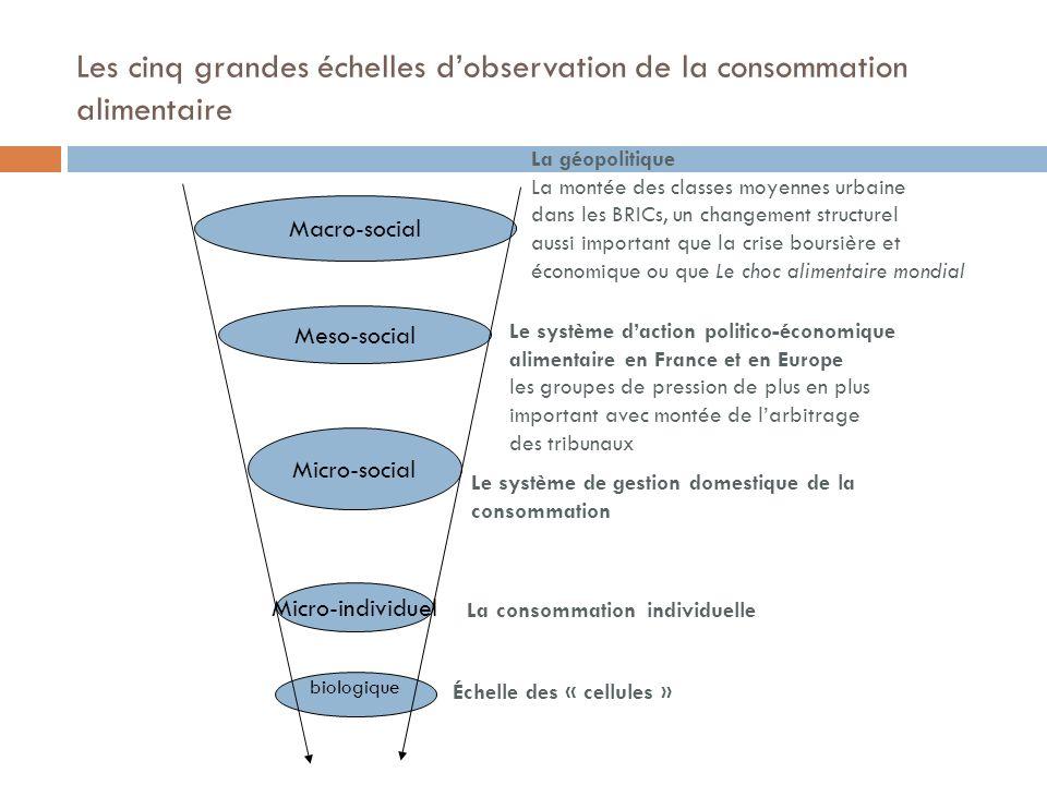 Les cinq grandes échelles d'observation de la consommation alimentaire