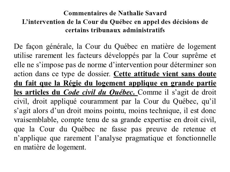 Commentaires de Nathalie Savard L'intervention de la Cour du Québec en appel des décisions de certains tribunaux administratifs