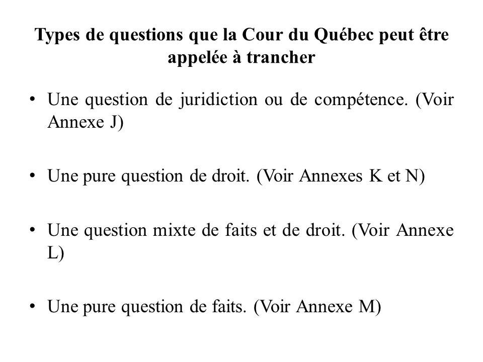 Types de questions que la Cour du Québec peut être appelée à trancher