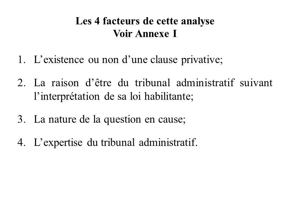Les 4 facteurs de cette analyse Voir Annexe I