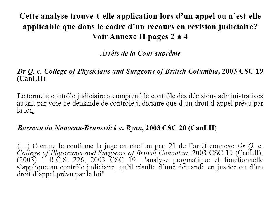 Cette analyse trouve-t-elle application lors d'un appel ou n'est-elle applicable que dans le cadre d'un recours en révision judiciaire Voir Annexe H pages 2 à 4