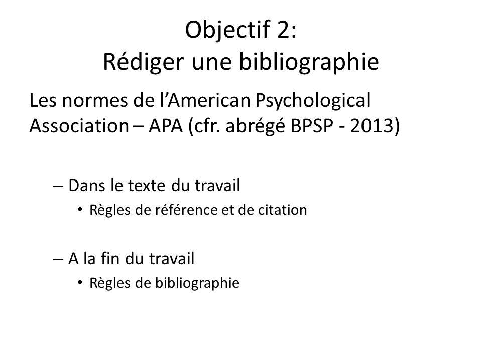 Objectif 2: Rédiger une bibliographie