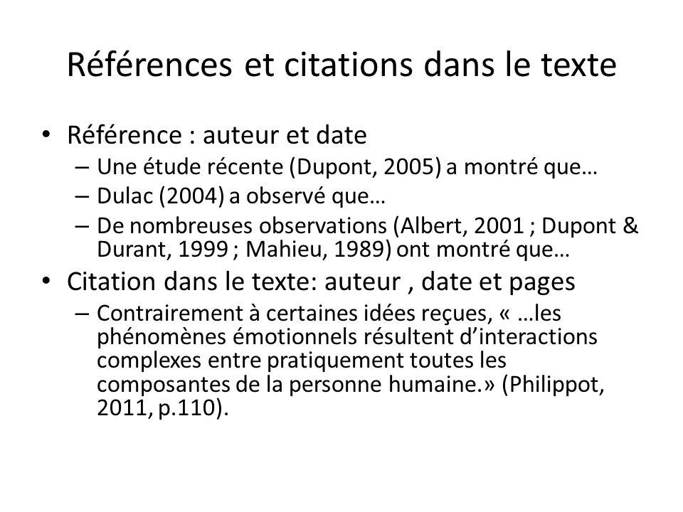 Références et citations dans le texte
