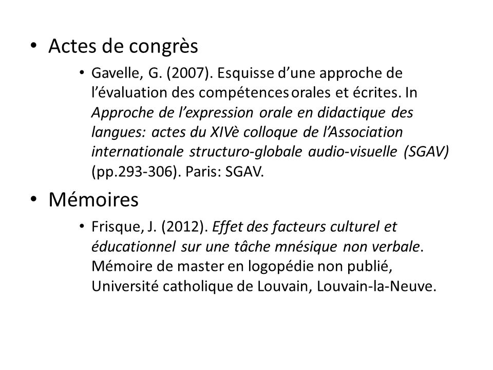 Actes de congrès Mémoires