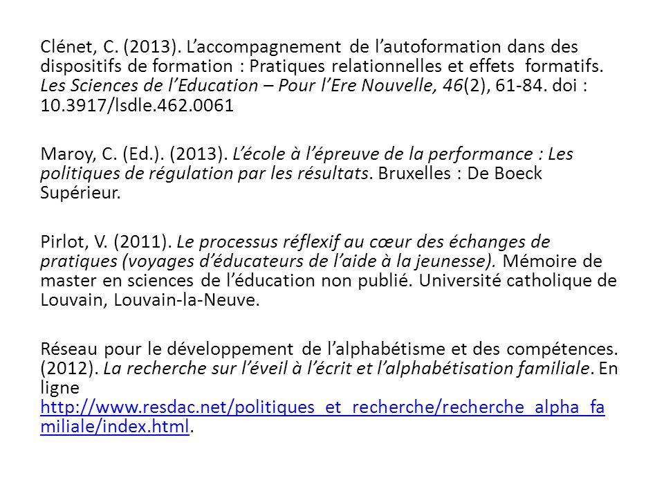 Clénet, C. (2013). L'accompagnement de l'autoformation dans des dispositifs de formation : Pratiques relationnelles et effets formatifs. Les Sciences de l'Education – Pour l'Ere Nouvelle, 46(2), 61-84. doi : 10.3917/lsdle.462.0061