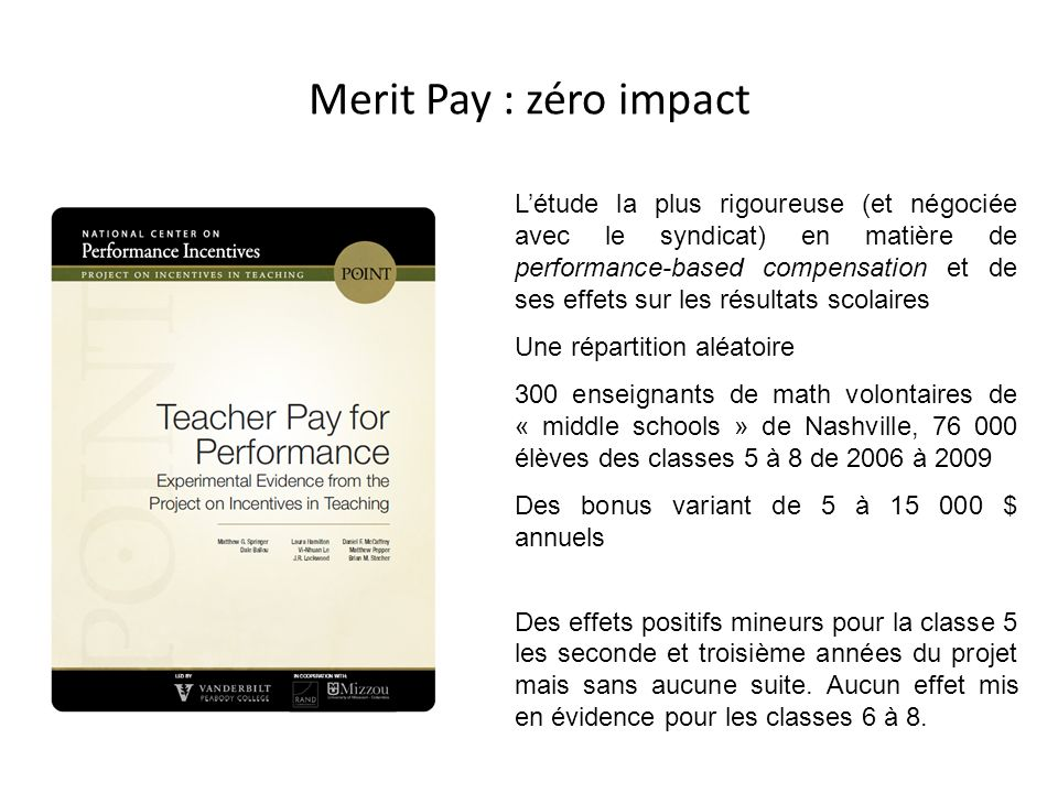 Merit Pay : zéro impact