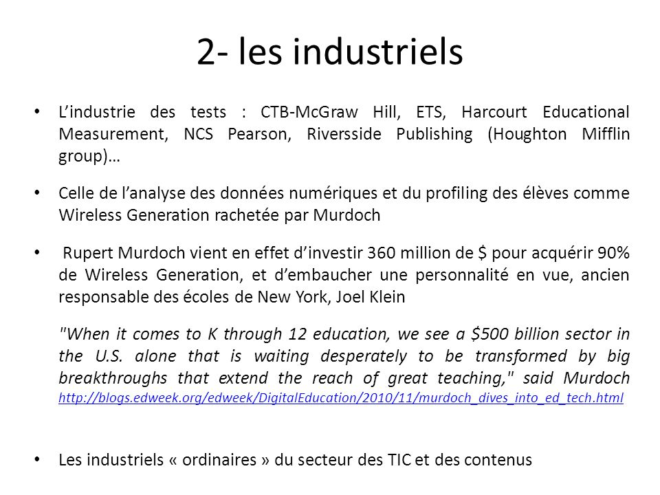 2- les industriels