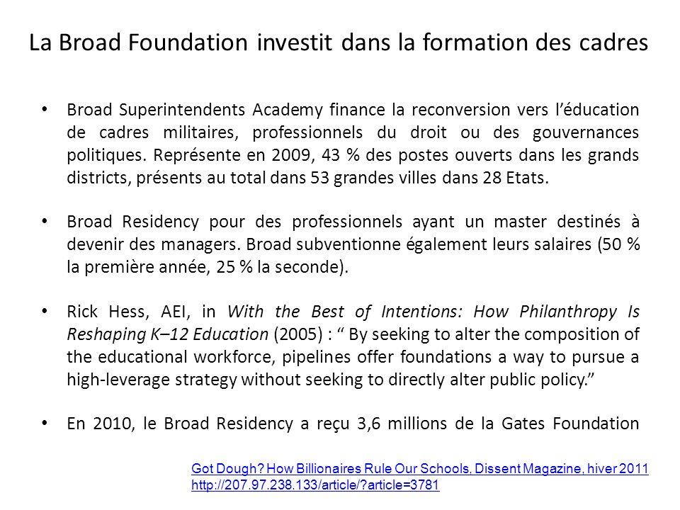 La Broad Foundation investit dans la formation des cadres
