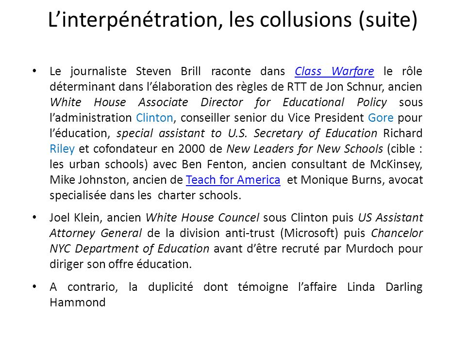 L'interpénétration, les collusions (suite)