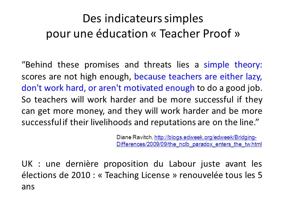 Des indicateurs simples pour une éducation « Teacher Proof »