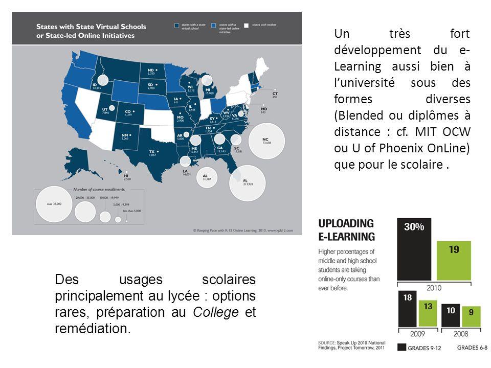 Un très fort développement du e-Learning aussi bien à l'université sous des formes diverses (Blended ou diplômes à distance : cf. MIT OCW ou U of Phoenix OnLine) que pour le scolaire .