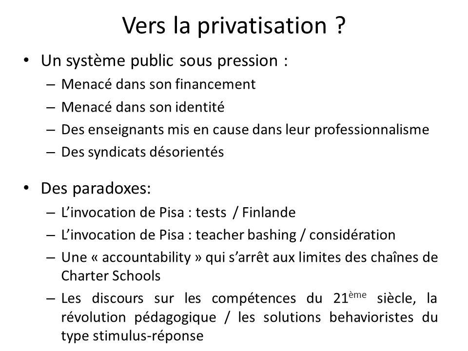 Vers la privatisation Un système public sous pression :