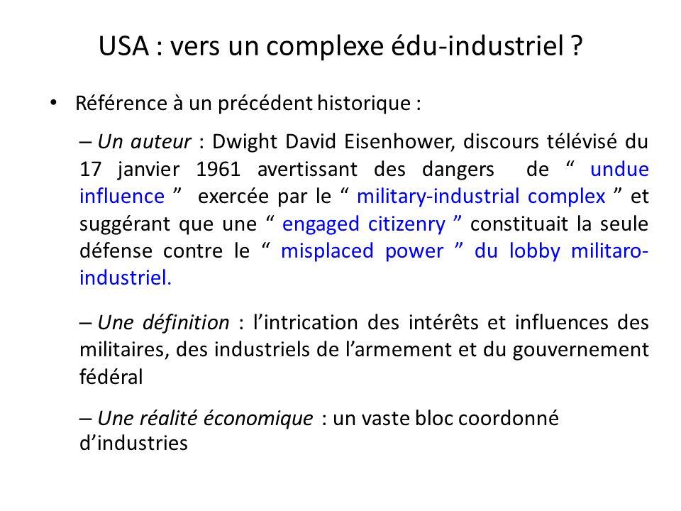 USA : vers un complexe édu-industriel