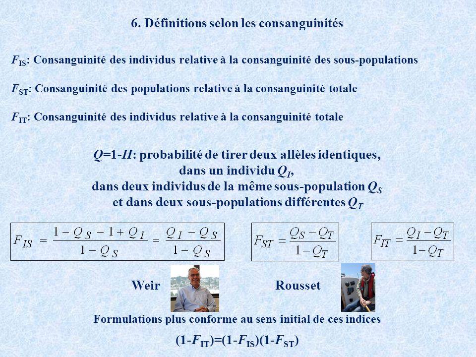 6. Définitions selon les consanguinités