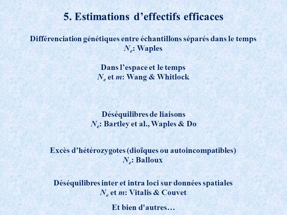 5. Estimations d'effectifs efficaces