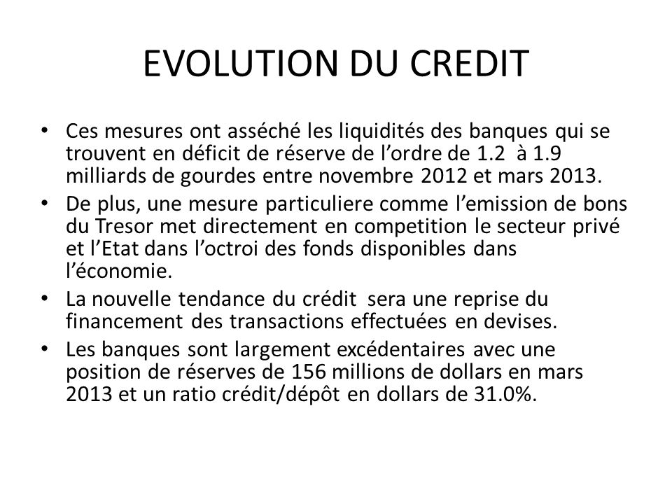EVOLUTION DU CREDIT
