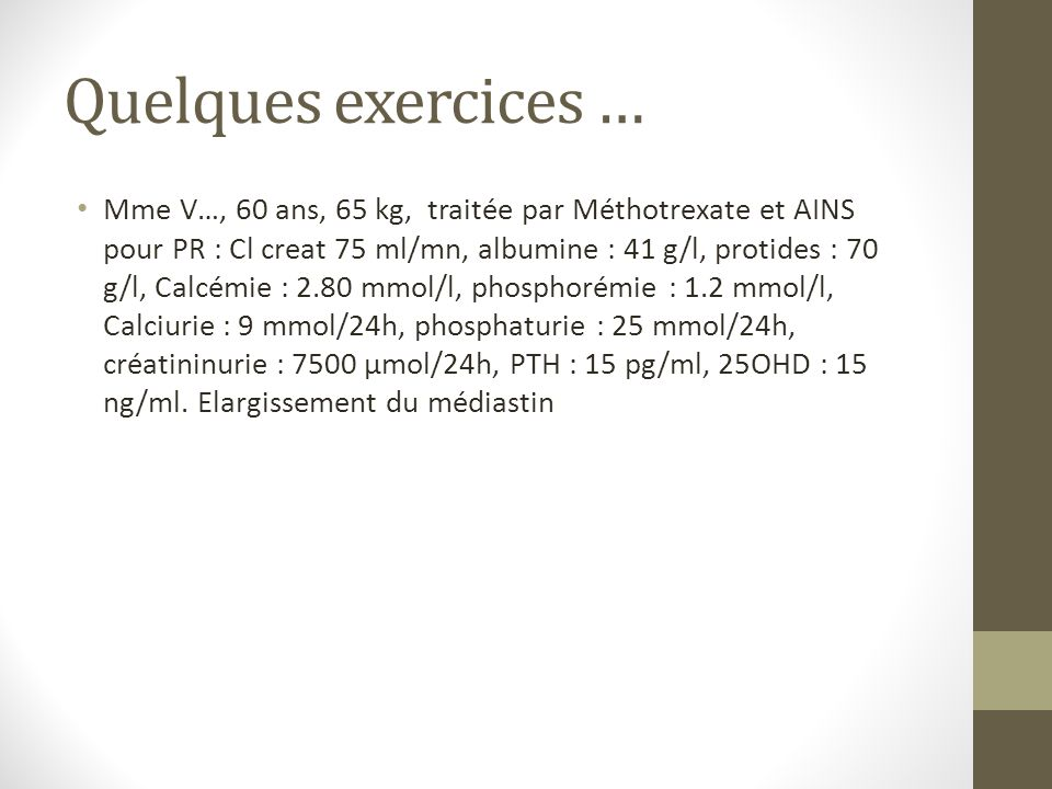 Quelques exercices …