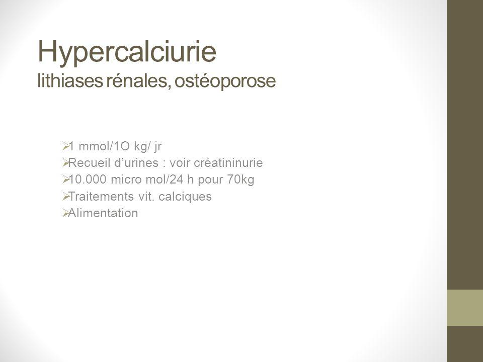 Hypercalciurie lithiases rénales, ostéoporose
