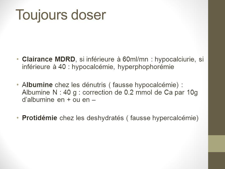 Toujours doser Clairance MDRD, si inférieure à 60ml/mn : hypocalciurie, si inférieure à 40 : hypocalcémie, hyperphophorémie.