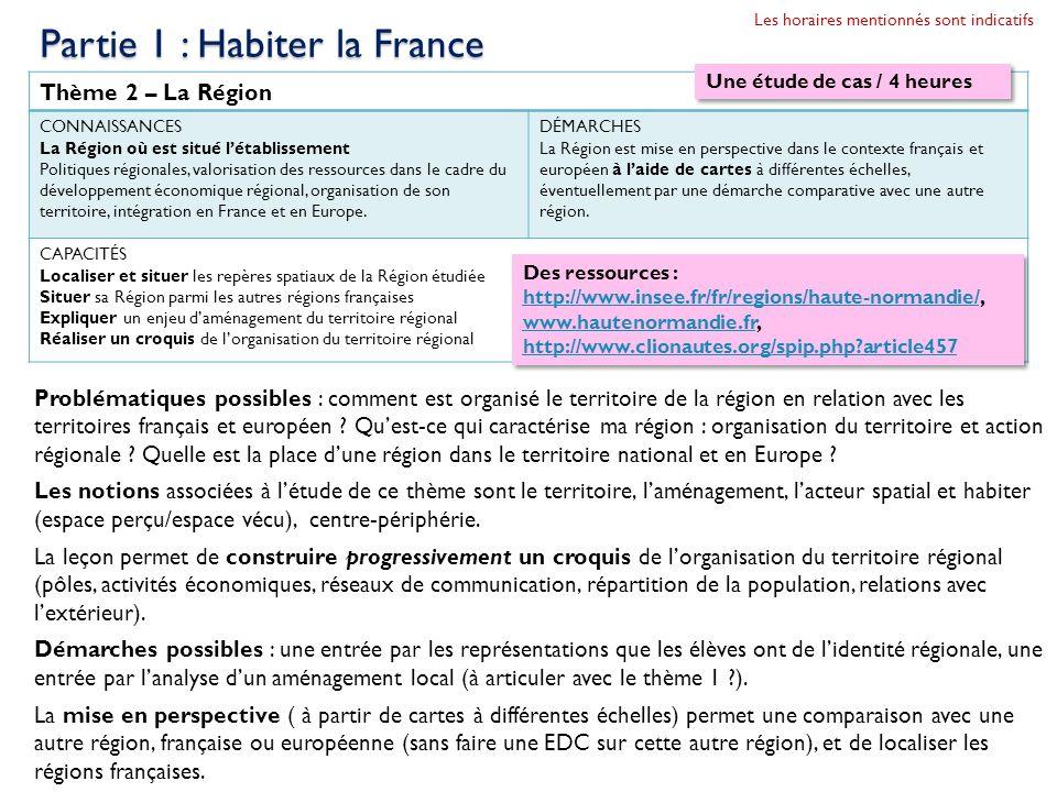 Partie 1 : Habiter la France