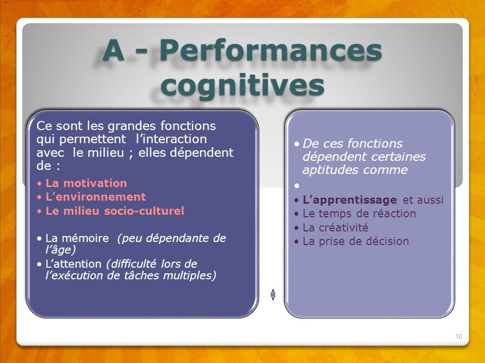 A - Performances cognitives