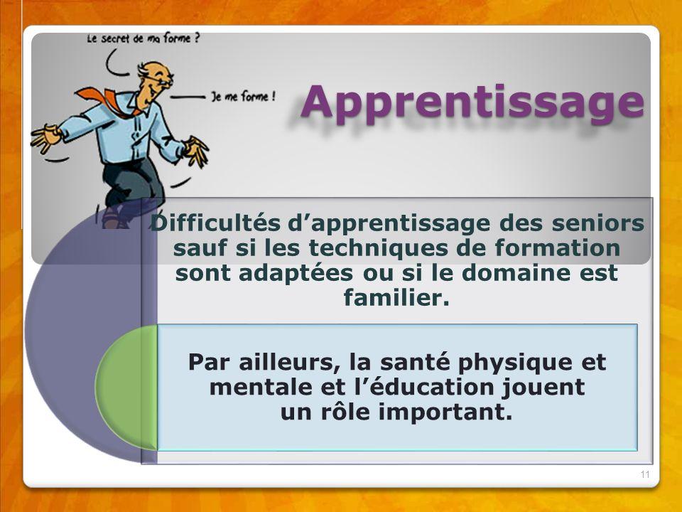 Apprentissage Difficultés d'apprentissage des seniors sauf si les techniques de formation sont adaptées ou si le domaine est familier.