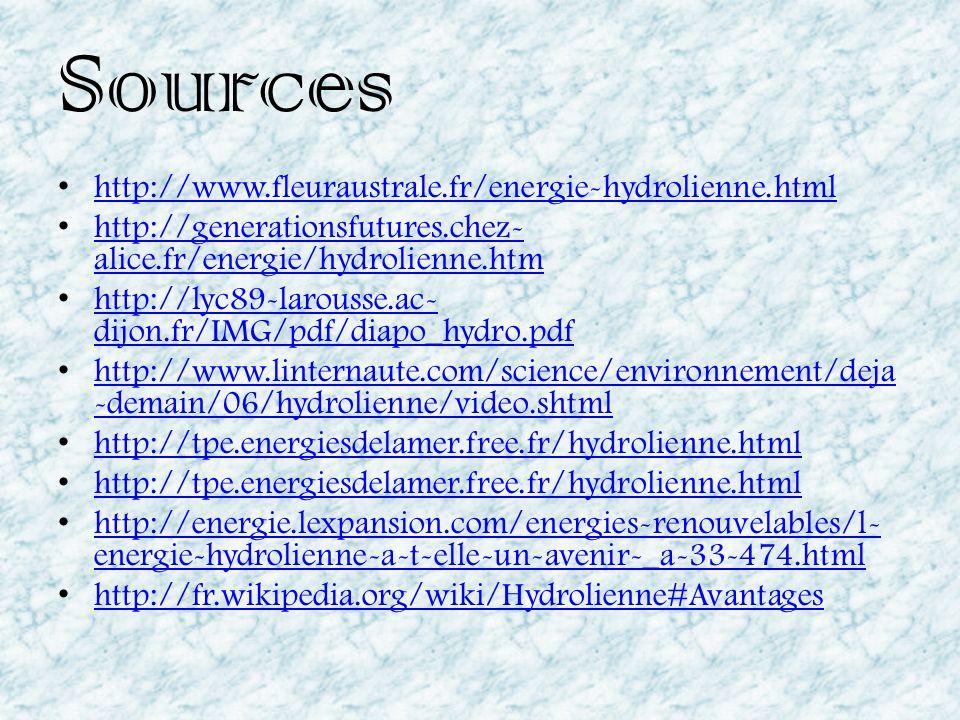 Sources http://www.fleuraustrale.fr/energie-hydrolienne.html