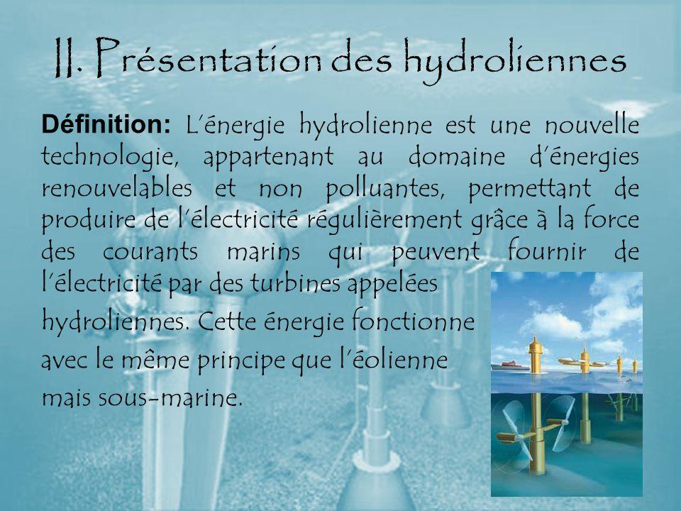 II. Présentation des hydroliennes