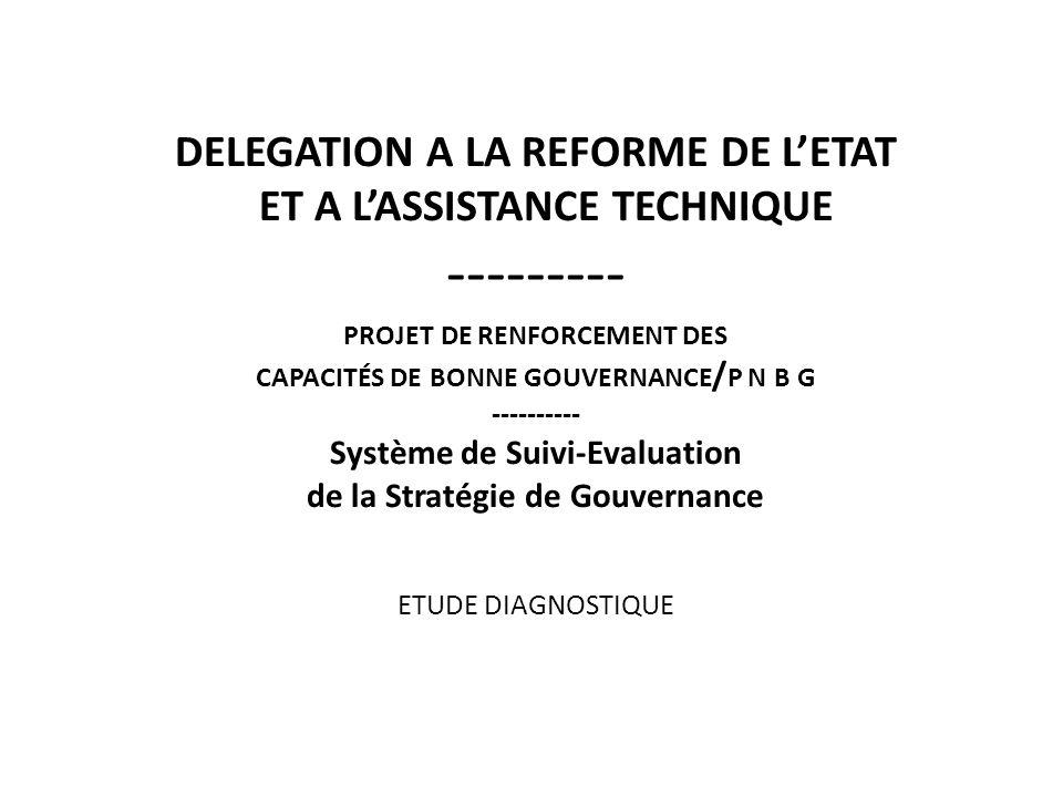 DELEGATION A LA REFORME DE L'ETAT ET A L'ASSISTANCE TECHNIQUE --------- projet de renforcement des capacités de bonne gouvernance/p n b g ---------- Système de Suivi-Evaluation de la Stratégie de Gouvernance ETUDE DIAGNOSTIQUE