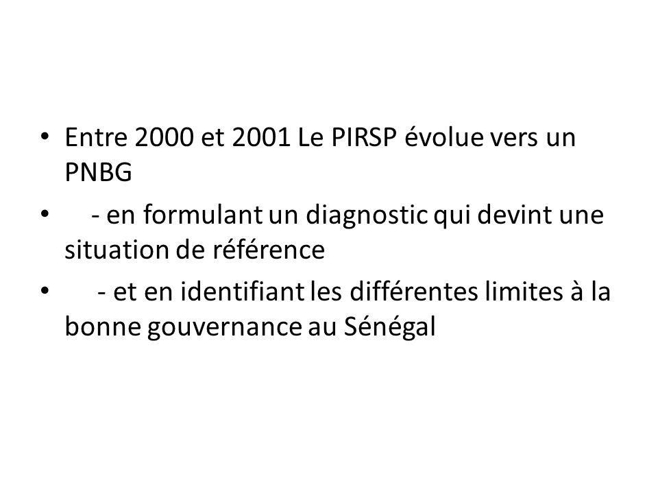 Entre 2000 et 2001 Le PIRSP évolue vers un PNBG