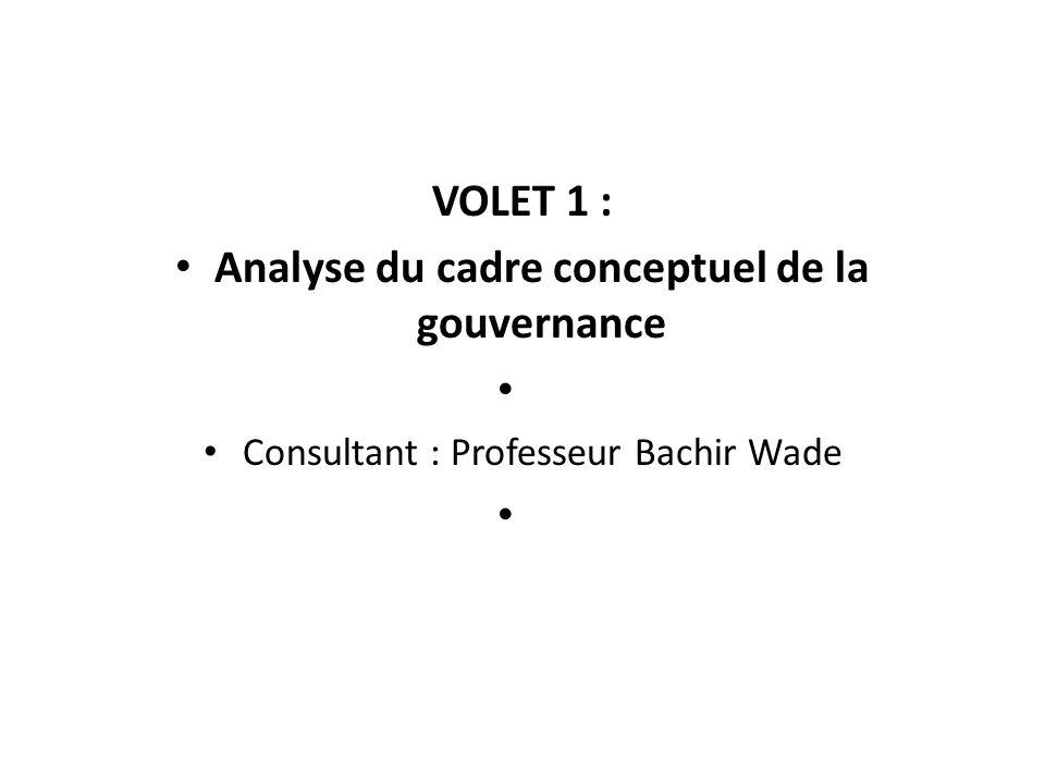 Analyse du cadre conceptuel de la gouvernance