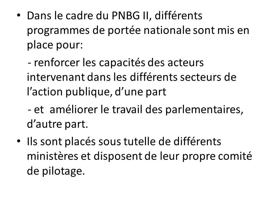Dans le cadre du PNBG II, différents programmes de portée nationale sont mis en place pour: