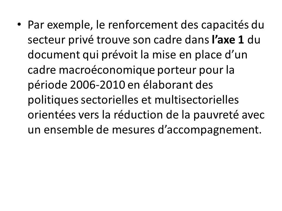 Par exemple, le renforcement des capacités du secteur privé trouve son cadre dans l'axe 1 du document qui prévoit la mise en place d'un cadre macroéconomique porteur pour la période 2006‐2010 en élaborant des politiques sectorielles et multisectorielles orientées vers la réduction de la pauvreté avec un ensemble de mesures d'accompagnement.
