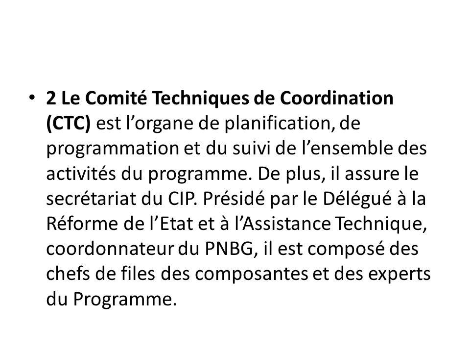 2 Le Comité Techniques de Coordination (CTC) est l'organe de planification, de programmation et du suivi de l'ensemble des activités du programme.