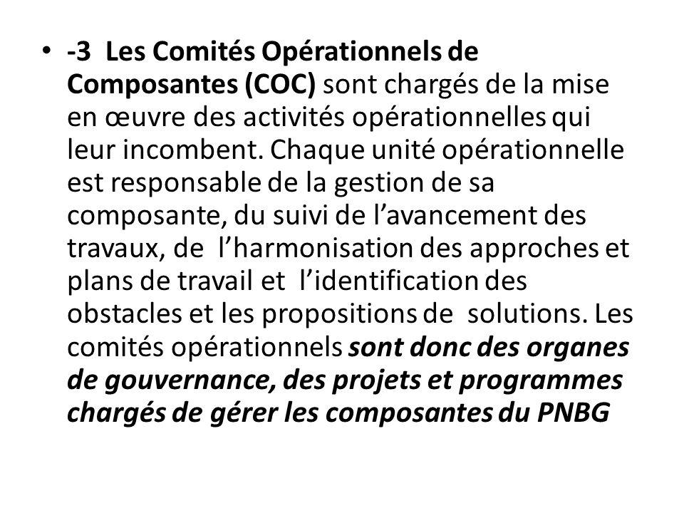 -3 Les Comités Opérationnels de Composantes (COC) sont chargés de la mise en œuvre des activités opérationnelles qui leur incombent.